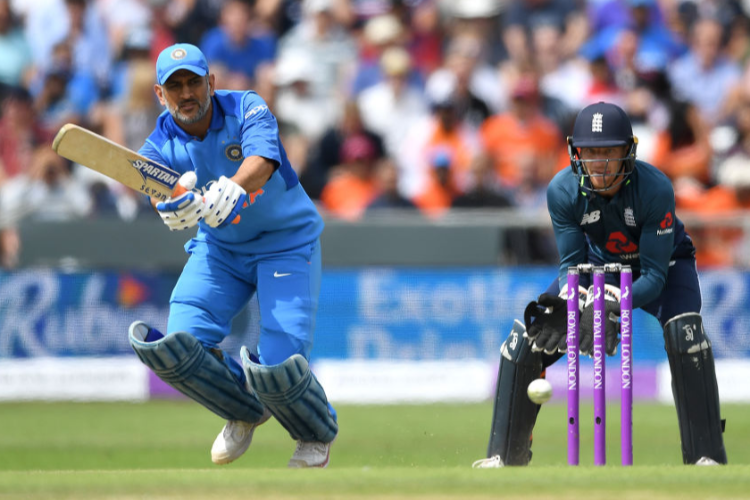 MS DHONI of India bats during the 3rd Royal London One-Day International match between England and India at Headingley in Leeds, England.