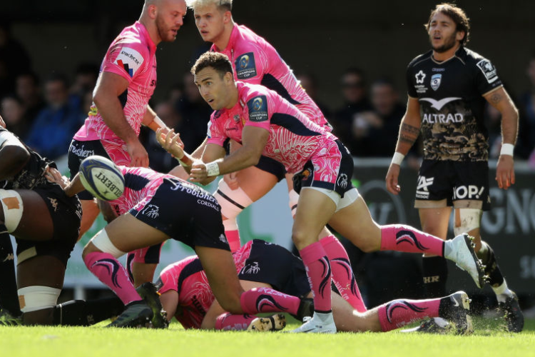 NIC WHITE of Exeter Chiefs passes the ball during the European Rugby Champions Cup match between Montpellier and Exeter Chiefs at Altrad Stadium in Montpellier, .