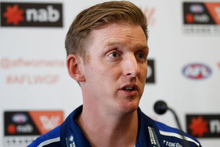 PAUL GROVES, Senior Coach of the Bulldogs speaks to the media during the AFLW Grand Final media opportunity at Ikon Park in Melbourne, Australia.