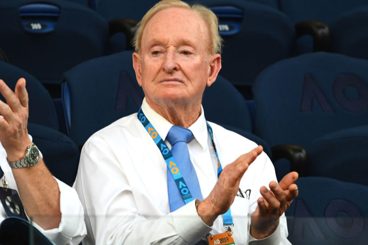 ROD LAVER attends the men's singles semi final match between Novak Djokovic of Serbia and Lucas Pouille of France during the Australian Open at Melbourne Park in Melbourne, Australia.