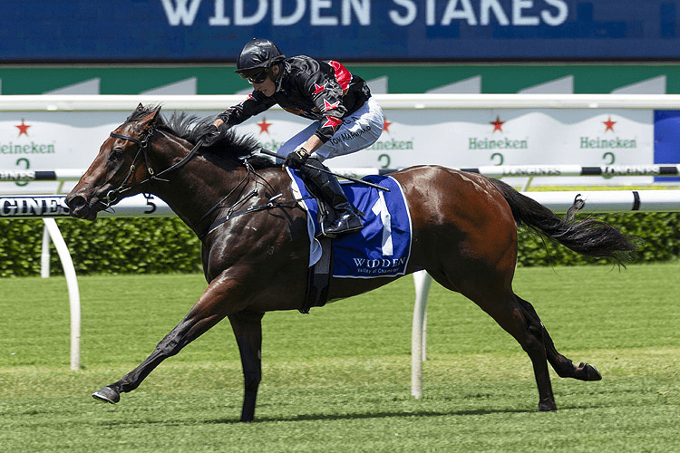 AWAY GAME winning the Widden Stakes