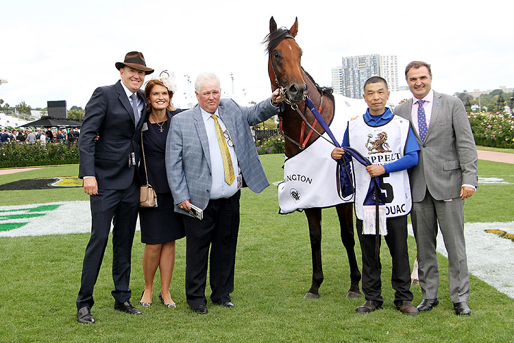 BIVOUAC with connections after, winning the Seppelt Wines Newmarket Hcp