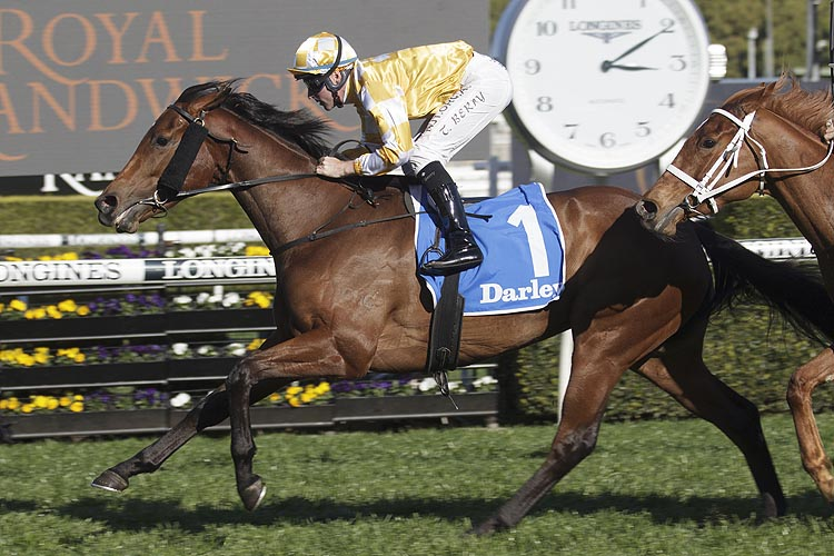 DAME GISELLE winning the Darley Furious Stakes