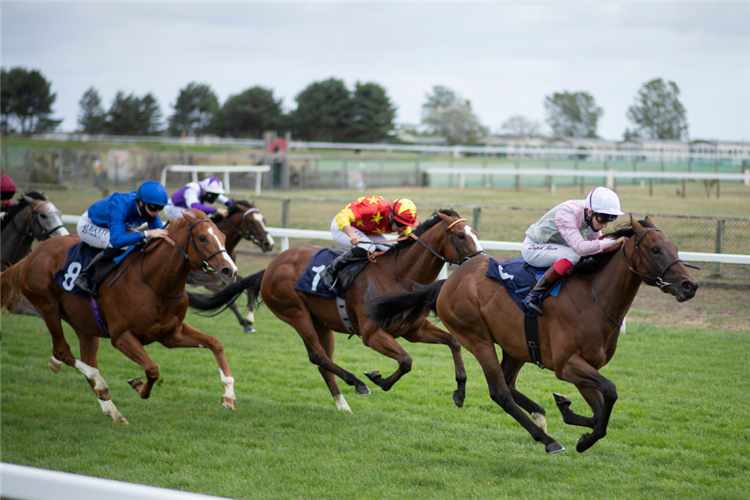 IMPERIAL YELLOW winning the British Stallion Studs EBF Novice Stakes at Yarmouth in England.