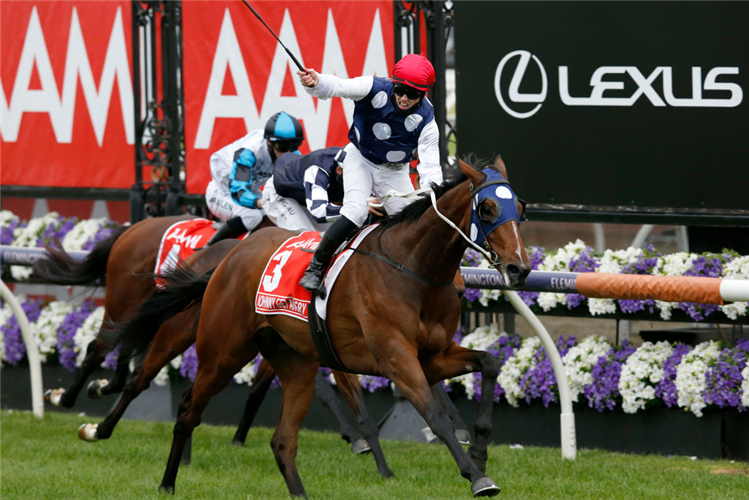 JOHNNY GET ANGRY winning the Victoria Derby at Flemington in Australia.