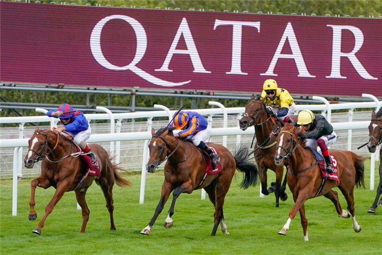 STRADIVARIUS (R) winning the Goodwood Cup Stakes at Goodwood in England.