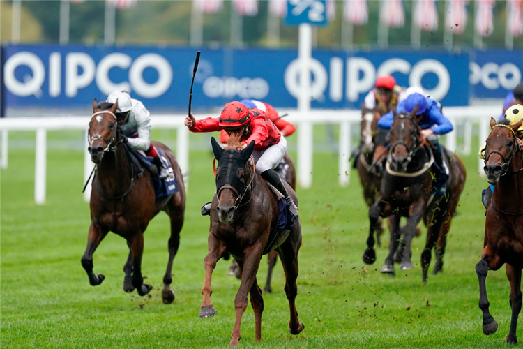 THE REVENANT (Red Cap) winning the Queen Elizabeth II Stakes at Ascot in England.