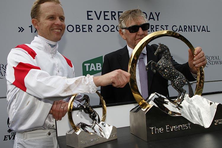 Jockey : KERRIN MCEVOY and Trainer LES BRIDGE after, CLASSIQUE LEGEND winning the The Tab Everest