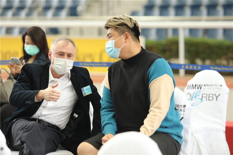 Paul O'Sullivan and bloodstock agent and media personality Ian Sham wearing masks due to spread of coronavirus.