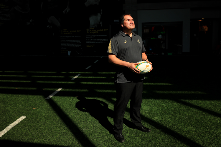 Australian Rugby Coach DAVE RENNIE poses for photographs during the Rugby Australia Welcome To Country at Rugby Australia HQ in Sydney, Australia.