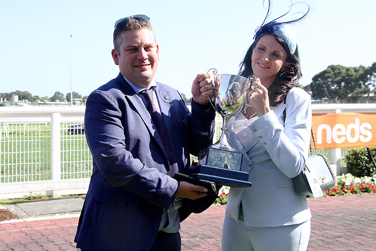 Trainer : TRENT BUSUTTIN & NATALIE YOUNG after, TAGALOA winning the Neds Blue Diamond Stakes