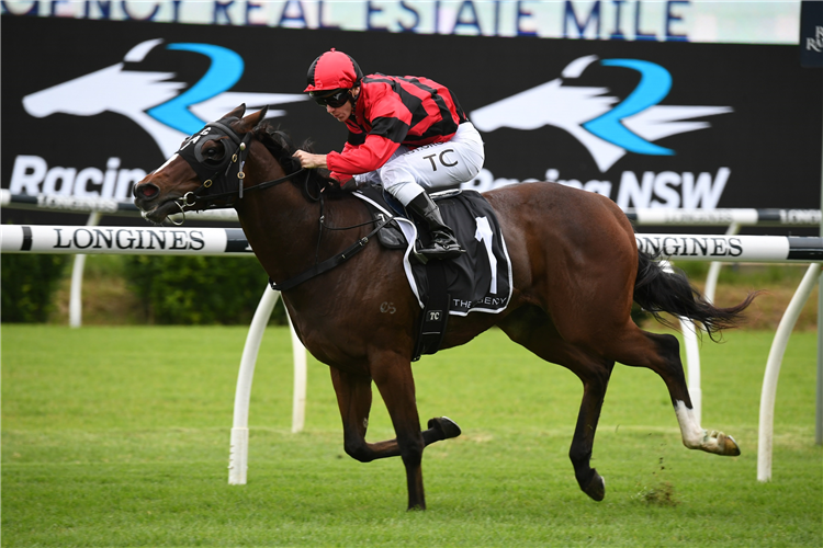 CONVERGE winning the Agency Real Estate Mile at Randwick in Australia.