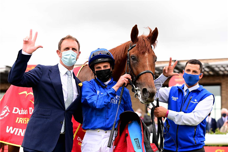 The Irish Derby won by HURRICANE LANE and William Buick for trainer Charlie Appleby.