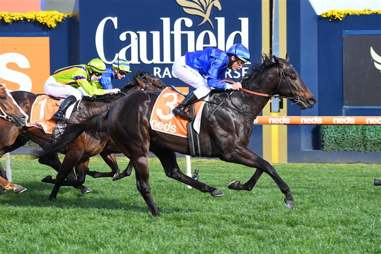 INGRATIATING winning the Vain Stakes at Caulfield in Australia.