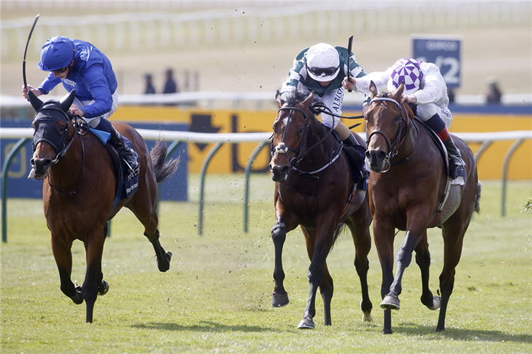POETIC FLARE winning the Qipco 2000 Guineas Stakes at Newmarket in United Kingdom.