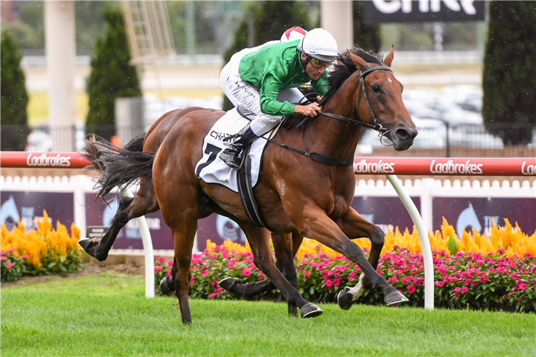 SCORCHED EARTH winning the Charter Keck Cramer Valley Pearl at Moonee Valley in Australia.