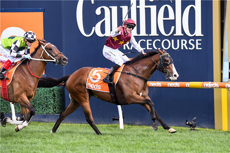 STREETS OF AVALON winning the C.F. Orr Stakes at Caulfield in Australia.