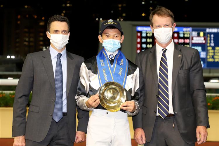 Jerry Chau, Douglas Whyte and Mr Andrew Harding, Executive Director of Racing at the Hong Kong Jockey Club.