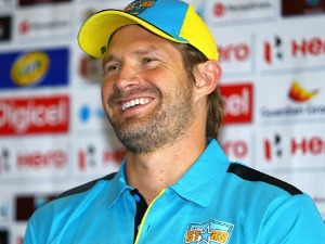 SHANE WATSON captain of the Saint Lucia Stars during the pre-match press conference held at the Hilton Hotel in Bridgetown, Barbados.