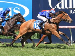 Qafila winning the Inglis Debutant Stakes