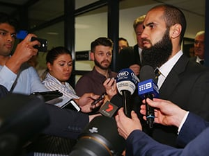 Bachar Houli of Richmond Tigers speaks to media after receiving a four week suspension at an AFL Appeals trial on June 29, 2017