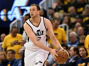 Joe Ingles of Utah Jazz controls the ball during the 2017 NBA Playoffs at Salt Lake City