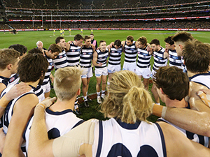 Joel Selwood of the Cats speaks to his players during the AFL second Qualifying match against Richmond. September 8, 2017