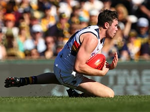 Mitch McGovern of the Crows marks the ball during their round 23 AFL match against the West Coast Eagles August 27, 2017