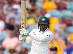 USMAN KHAWAJA of Australia bats during the First Test Match of the 2017/18 Ashes Series in Brisbane, Australia.