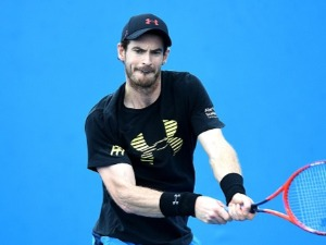 ANDY MURRAY of Great Britain plays a backhand in a warm-up session at the 2018 Brisbane International at Pat Rafter Arena, in Brisbane, Australia.