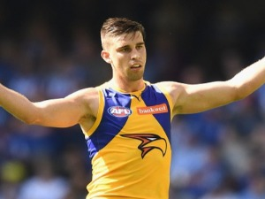 ELLIOT YEO of the Eagles celebrates kicking a goal during an AFL match at Etihad Stadium in Australia.