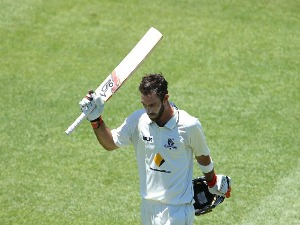 GLENN MAXWELL of Victoria acknowledges the crowd during a Sheffield Shield match in Sydney, Australia.