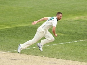 JACKSON BIRD of Tasmania bowls during day four of the Sheffield Shield match at Blundstone Arena in Hobart, Australia.