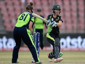 MEG LANNING of Australia bats during the Women's ICC World Twenty20 India 2016 match between Australia and Ireland at Feroz Shah Kotla Ground in Delhi, India.