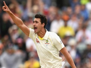 MITCHELL STARC of Australia celebrates getting a wicket during the 2017/18 Ashes Series at WACA in Perth, Australia.