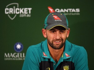 NATHAN LYON of Australia speaks during a press conference at Adelaide Oval in Adelaide, Australia.