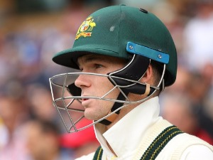PETER HANDSCOMB of Australia looks on during an Ashes test match at Adelaide Oval in Adelaide, Australia.