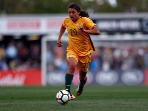 SAMANTHA KERR of Australia controls the ball during a match at Pepper Stadium in Sydney, Australia.