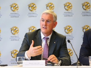FFA Chairman STEVEN LOWY addresses media during a press conference, at the FFA Offices, in Sydney, Australia.