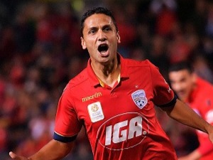Marcelo Carrusca of United celebrates after scoring a goal from a penalty kick during a round 27 A-League match against the Western Sydney Wanderers. April 15, 2017 in Adelaide, Australia.