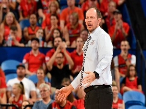 Taipans coach AARON FEARNE reacts during NBL match between the Perth Wildcats and the Cairns Taipans at Perth Arena in Perth, Australia.