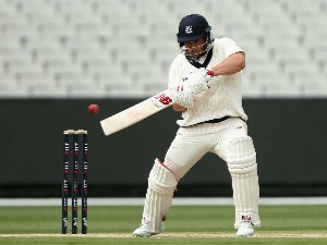AARON FINCH of Victoria plays a shot during the Sheffield Shield match at MCG in Melbourne, Australia.
