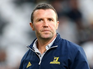 AARON MAUGER, head coach of the Highlanders, looks on ahead of the Super Rugby match between the Highlanders and the Crusaders at Forsyth Barr Stadium in Dunedin, New Zealand.
