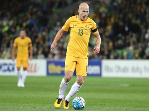 AARON MOOY of the Socceroos controls the ball during the 2018 FIFA World Cup Qualifier match between the Australian Socceroos and Thailand at AAMI Park in Melbourne, Australia.