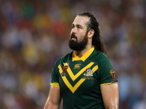 AARON WOODS of the Kangaroos looks on during the Rugby League World Cup Semi Final match between the Australian Kangaroos and Fiji at Suncorp Stadium in Brisbane, Australia.