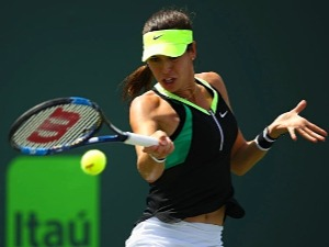 AJLA TOMLJANOVIC of Croatia in action against Lucie Safarova of Czech Republic at Crandon Park Tennis Center in Key Biscayne, Florida.