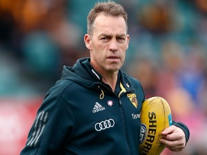 ALASTAIR CLARKSON, Coach of the Hawks looks on during the 2017 AFL match between the Hawthorn Hawks and the North Melbourne Kangaroos at the University of Tasmania Stadium in Launceston, Australia.