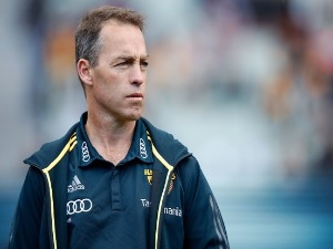 ALASTAIR CLARKSON, Senior Coach of the Hawks looks on during the 2017 AFL match between the Geelong Cats and the Hawthorn Hawks at the MCG in Melbourne, Australia.