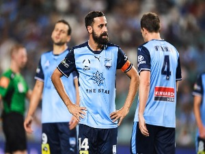 ALEX BROSQUE of Sydney shows his dejection during the A-League match between Sydney FC and the Brisbane Roar at Allianz Stadium in Sydney, Australia.