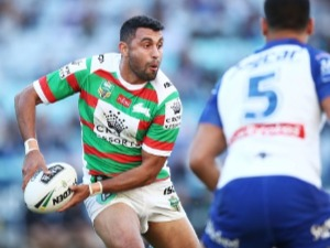 ALEX JOHNSTON of the Rabbitohs runs with the ball during the NRL match between the Canterbury Bulldogs and the South Sydney Rabbitohs at ANZ Stadium in Sydney, Australia.